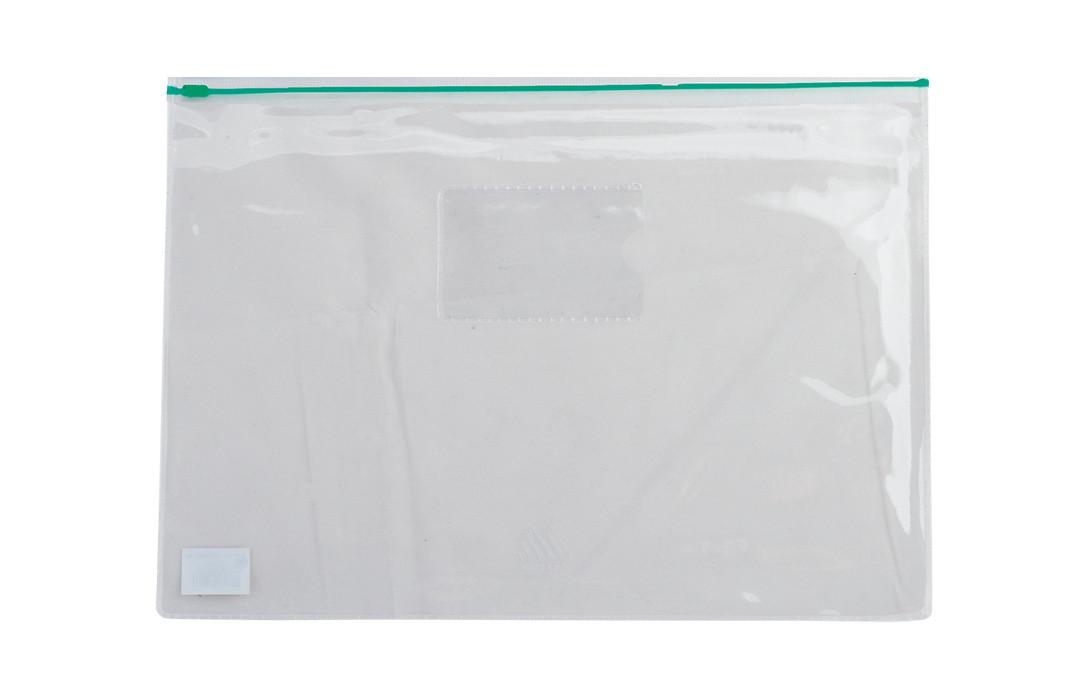 Папка-конверт А5 на молнии прозрачная зеленая