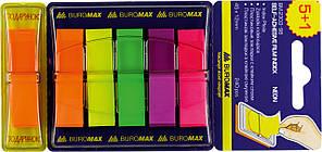 Закладки Buromax с клейким слоем 5+1х40л пластик 45x12мм ассорти BM.2303-98