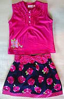 Стильный яркий детский костюм - блуза ярко-малиновая и синяя юбка в розы, р. 110 см