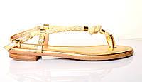 Босоножки женские Michael Kors золотые из натуральной кожи без каблука, брендовые босоножки