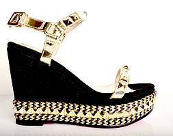 Босоножки женские Louboutin черный замш на платформе,брендовые босоножки