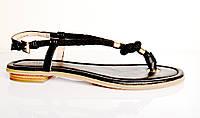 Босоножки женские Michael Kors черные из натуральной кожи без каблука,брендовые босоножки