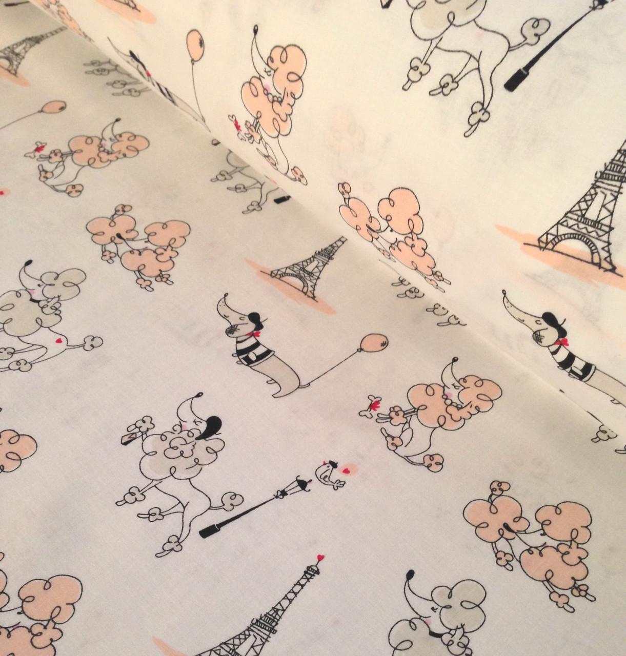 Хлопковая ткань польская пудели во Франции