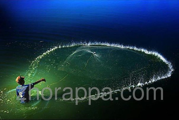 Рыболовная сеть - парашют, кастинговая сеть , со шнуром для ...
