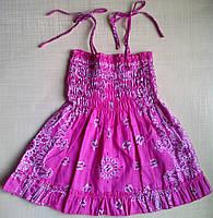 Сарафан летний детский розовый, на тонких бретелях, р. 80 см