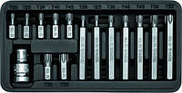 Набор бит ТОРХ 30и75мм +переходник 1/2 15шт. YATO YT-0411