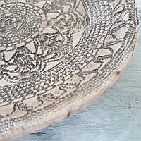 Тарелка Ohaina ручной работы кружево 20см керамика цвет кофе