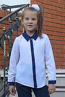 """Блузка для девочки """"Планка-длинный  рукав""""(белый), фото 1"""