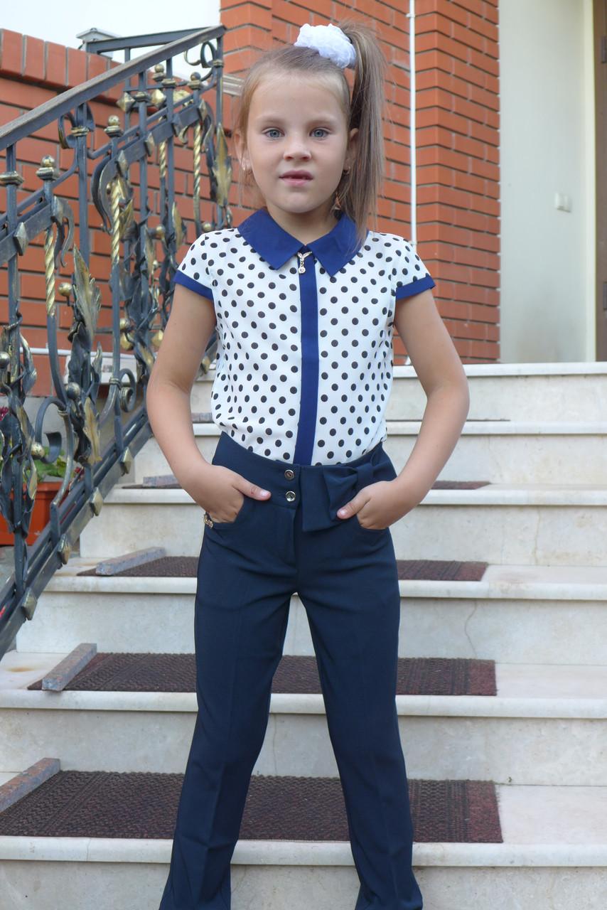 """Брюки для девочек  """"Бантик-модель 15"""" синие."""