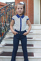 """Брюки для девочек  """"Бантик-модель 15"""" синие., фото 1"""