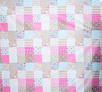 Бязь Голд розовые квадраты абстракция