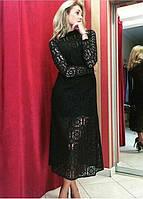 Брендовое женское черное платье вечернее ажурное Италия
