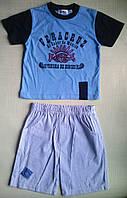 Голубая футболка и шорты в полоску, для мальчика