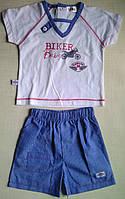 Костюмчик для мальчика, BIKER Baby: белая футболка и голубые шорты