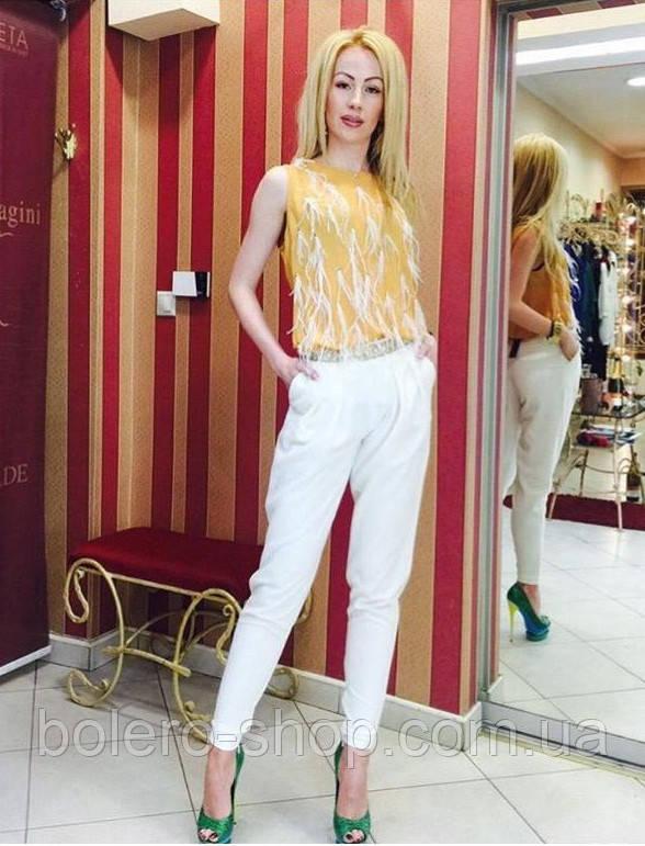 Женские брюки белые галифе Италия