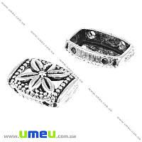 Разделитель металлический на 2 отверстий, Античное серебро, 14х10 мм, 1 шт (KON-016877)