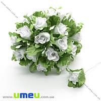 Роза тканевая, 15 мм, Белая, 1 шт (DIF-016887)