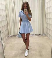 Платье на поясе верх рубашечного кроя а низ расклешонная юбка 416 ЕП