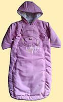 Пальто-конверт теплый для новорожденной, розовый