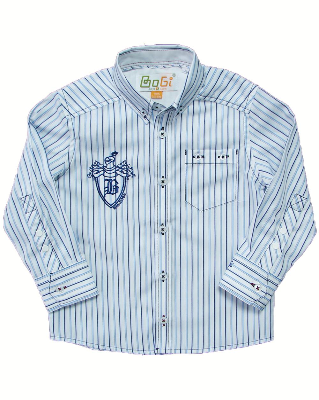 Рубашка для мальчика в сине голубую полоску, BOGI (Божи)