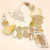 Колье с натуральными камнями - Яшма, Золотой Рутиловый Кварц (Волос Венеры, Волосатик)