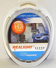 "Автомобильные галогенные лампы ""REALIGHT"" (H3)(+100%)(12V)(55W)"