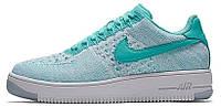 Женские кроссовки Nike Air Force 1 Ultra Flyknit Low Hyper Turquoise (найк аир форс низкие) голубые