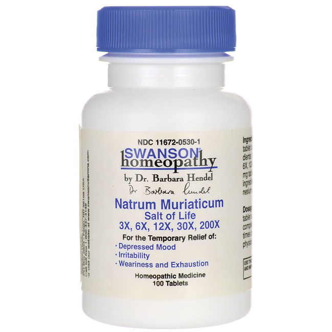 Natrum Muriaticum Salt of Life 3X, 6X, 12X, 30X, 200X, Swanson, 100 таблеток