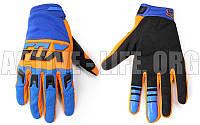 Мото перчатки , вело рукавиці, закрытые FOХ DIRTPAW (р-р M-XL) (синий-оранжевый-черный)