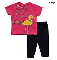 """Летний костюм """"Фламинго"""" для девочки. 86, 92, 104 см, фото 1"""