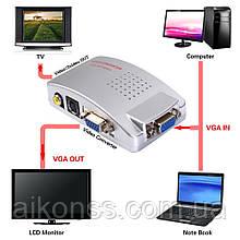 VGA to TV на RCA, AV, S-Video відео конвертер адаптер