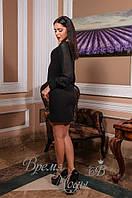 Женское платье с рукавами из шифона. Чёрное. 2 цвета.