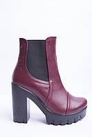Ботинки из натуральной бордо кожи №314-6, фото 1