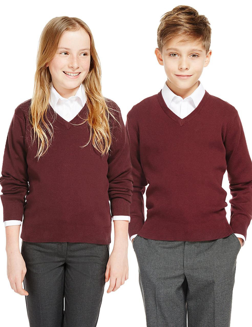 Школьный джемпер бордовый на мальчика 6-7-8-9-10 лет George (Aнглия)