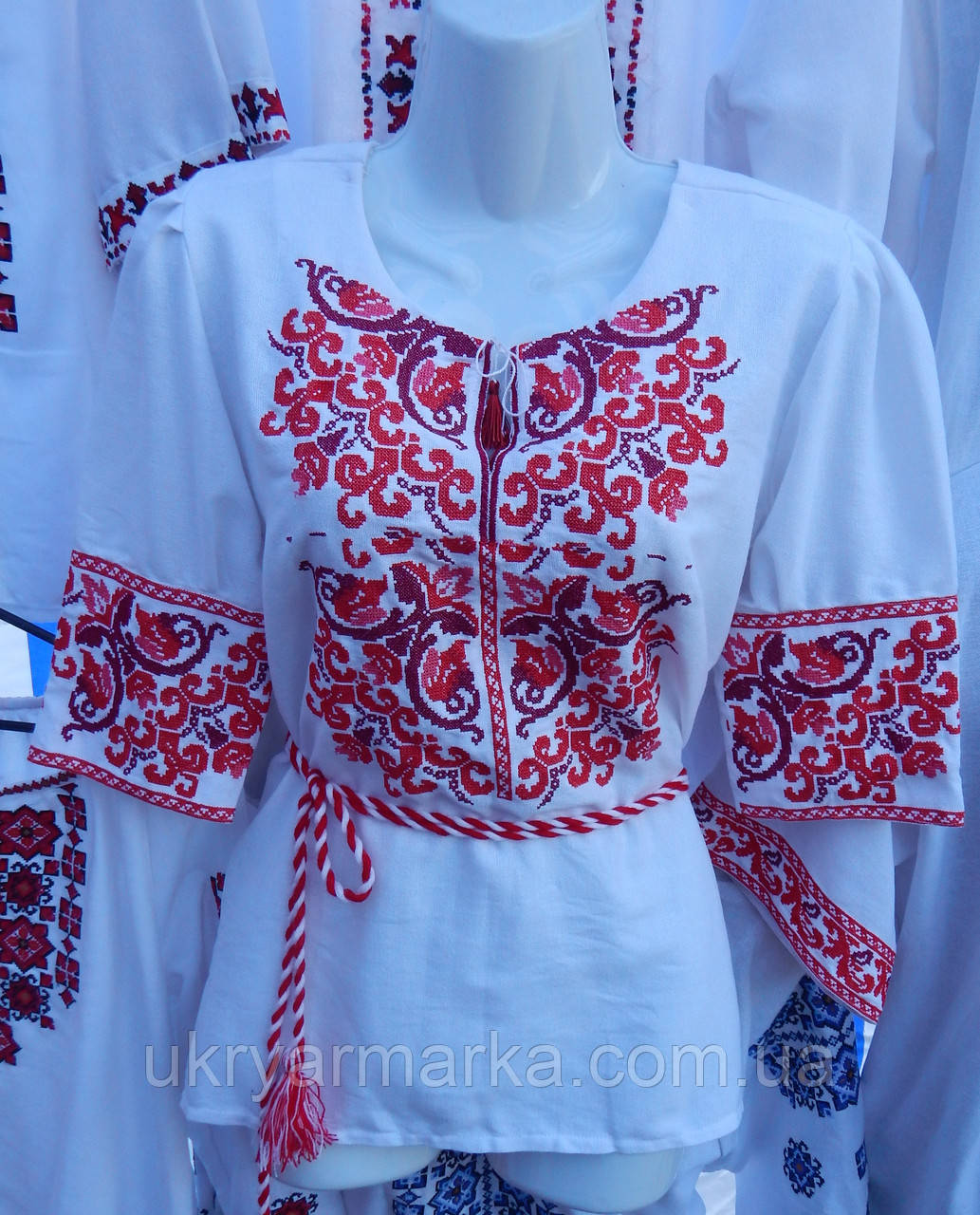 """Жіноча вишита блузка """"Дзвоник"""" червона, фото 1"""
