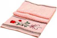Красивое банное полотенце 140х70 махра F-760 A pink розовое