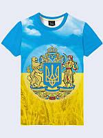 Футболка мужская 3D Украинское пшеничное поле Герб Украины