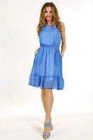 Коктейльное летнее платье из шифона с карманами
