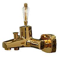 Золотой смеситель для ванны с ручкой Сваровски Venezia Diamonod Gold 5010201