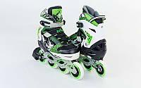 Роликовые коньки раздвижные ZELART Z-809G (р-р 34-37) (PL, PVC, колесо PU, алюм. рама, зеленый)