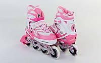 Роликовые коньки раздвижные ZELART (р-р 32-35, 36-39) LUX (PL, PVC, колесо PU, алюм. рама, светло-розовый)
