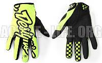 Мотоперчатки ,кроссовые, вело рукавиці, закрытые Troy Lee Designs (р-р M-XL) ( салатовый-черный)
