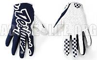Мотоперчатки ,кроссовые, вело рукавиці, закрытые Troy Lee Designs (р-р M-XL) (белый-т.синий)