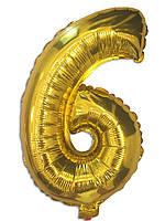 Шар цифра 6 фольгированный золото 35 см.