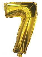 Шар цифра 7 фольгированный золото 35 см.
