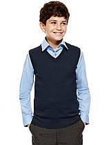 Безрукавка темно-синяя школьная на мальчика 5-6-7-8-9-10 лет Хлопок 90% George (Англия)