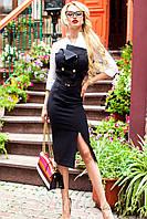 Офисное черно-белое платье облегающего силуэта Фике 42-48 размеры Jadone