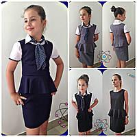 Сарафан  школьный синий   Баска 134-158