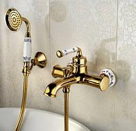 Смеситель для ванны золотой с белой ручкой Декор Emparador Venezia