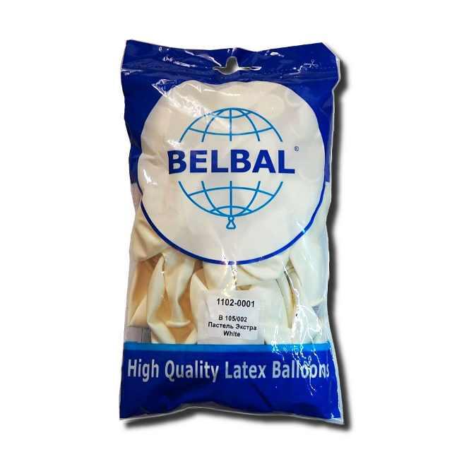 """Воздушные шары Belbal пастель 12""""(30 см) белый 50 шт"""